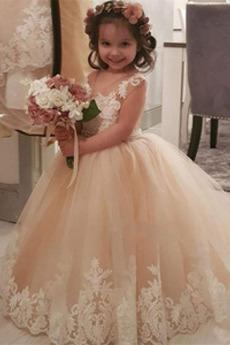 Blumenmädchenkleid Juwel Elegant Ärmellos Applike Lange Mittelgröße