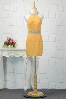 Sommer Perlengürtel Spitze Dünn Natürliche Taille Etui Abendkleid