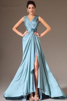 Natürliche Taille Lange Ärmellos Kleine Größe V-Ausschnitt Abendkleid