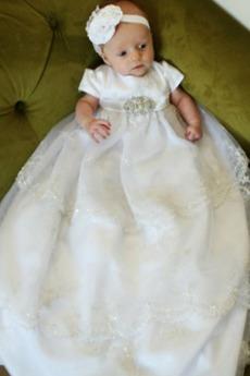 Satin Kleine Größe Juwel Hoch Überdachte Rosendekor Taufe Kleid