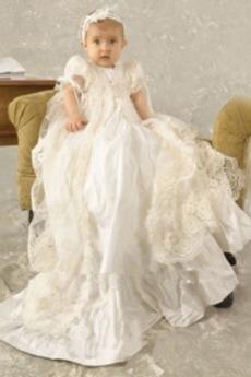 Natürliche Taille Spitze Prinzessin Mittelgröße Knopf Taufe Kleid