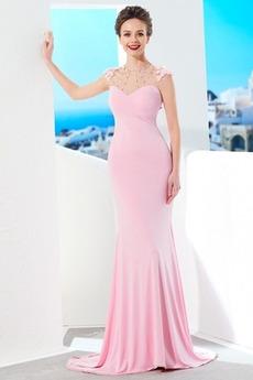 Sweep Zug Ärmellos Natürliche Taille Juwel Mittelgröße Sexy Abendkleid