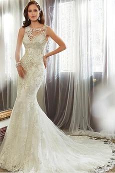 Herbst Juwel Elegant Lange Etui Applike Brautkleid