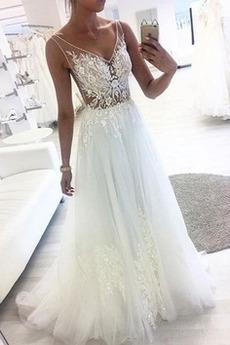 Brautkleid Tüll Ärmellos Outdoor V-Ausschnitt Reißverschluss Natürliche Taille