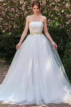 Sweep Zug Natürliche Taille Tüll Herbst Rückenfrei Brautkleid