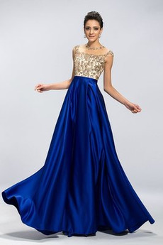 Natürliche Taille Mittelgröße Elastischer Satin A-Linie Abendkleid