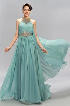 Chiffon Elegant Juwel Birneförmig Bodenlang Frühling Abendkleid