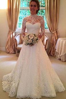 Natürliche Taille Mittelgröße Spitze Frühling A-Linie Outdoor Brautkleid