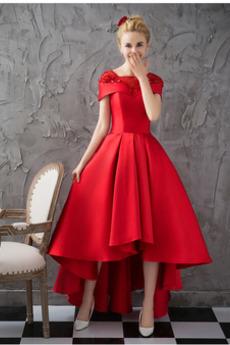Kurze Ärmel Jahr 2019 Asymmetrisch Satin Juwel Vintage Cocktailkleid