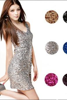 V-Ausschnitt Ärmellos Natürliche Taille Sternenhimmel Pailletten-Kleid