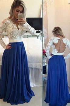 Durchsichtige Rücken Natürliche Taille Applike Elegant Spitze Abendkleid