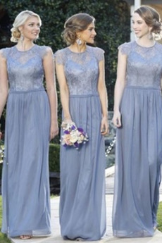 Umgedrehtes Dreieck Reißverschluss Drapierung Bodenlang Elegant Juwel Brautjungfernkleid