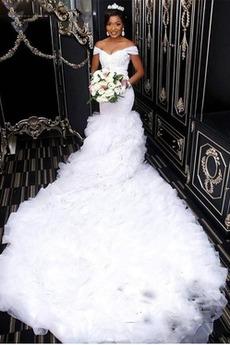 Mehrschichtige Natürliche Taille Lange Reißverschluss Brautkleid