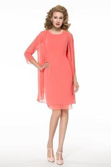 Juwel T-Shirt Drapierung Natürliche Taille Chiffon Brautmutterkleid