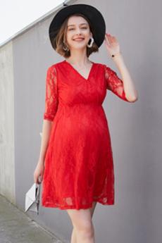 Spitzen-Overlay V-Ausschnitt Kurz Schwangere Frühling Abendkleid