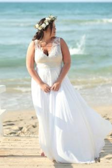 Brautkleid Applike Natürliche Taille V-Ausschnitt Tiefer V-Ausschnitt