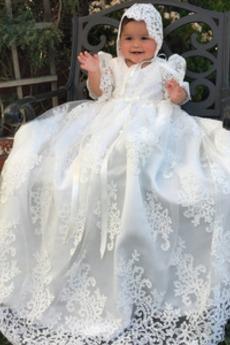 Spitze Puffärmel Prinzessin Formell Natürliche Taille Taufe Kleid