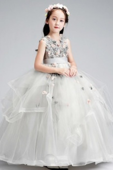 Frühling Reißverschluss Formell Tüll A-Linie Juwel Blumenmädchenkleid