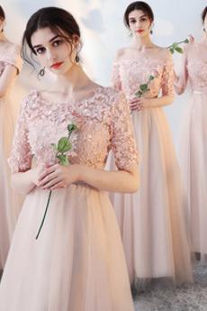 Knöchellang Spitzen-Overlay T-Shirt Mittelgröße A-Linie Brautjungfernkleid