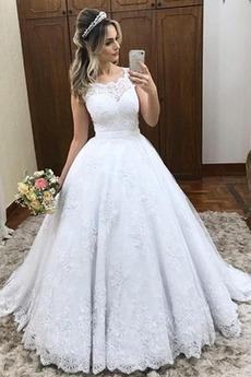 Ärmellos Schaufel Formell Natürliche Taille Lange Herbst Brautkleid