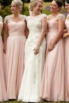 Reißverschluss Elegant Mittelgröße Kurze Ärmel Chiffon Brautjungfernkleid