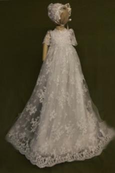Kurze Ärmel Formell Natürliche Taille Lange Hoch Überdachte Taufe Kleid