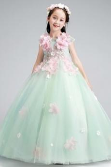 Natürliche Taille Formell Juwel Frühling Reißverschluss Blumenmädchenkleid