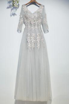 Durchsichtige Ärmel Spitze Natürliche Taille Sommer Brautjungfernkleid