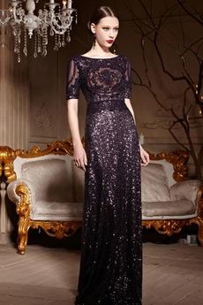 Durchsichtige Rücken Pailletten Natürliche Taille Mittelgröße Pailletten-Kleid