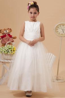 Knöchellang Romantisch Natürliche Taille Satin Reißverschluss Blumenmädchenkleid