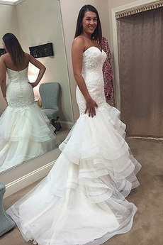 Applike Mittelgröße Tüll Herz-Ausschnitt Ärmellos Vintage Brautkleid