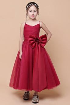 Natürliche Taille Spaghettiträger Herbst Luxus Reißverschluss Blumenmädchenkleid