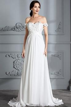 Empire Taille Spitze Outdoor Falte Mieder Gekappte Ärmel Empire Brautkleid