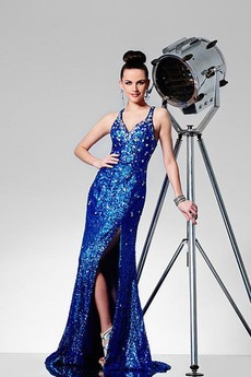 Natürliche Taille V-Ausschnitt Mitte Rücken Sternenhimmel Ärmellos Pailletten-Kleid