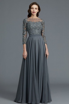 T-Shirt Rückenfrei Mittelgröße Lange Ärmel Elegant Brautmutterkleid