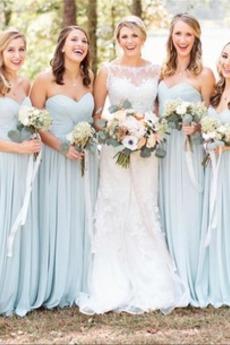 Elegant Pick-Ups Chiffon Sweep Zug Natürliche Taille Brautjungfernkleid