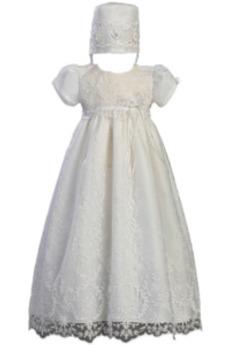 Spitze Natürliche Taille Juwel Formell Lange Prinzessin Taufe Kleid