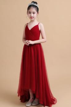 Luxus Asymmetrisch V-Ausschnitt Frühling Reißverschluss Blumenmädchenkleid
