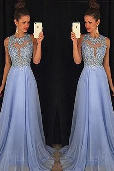 A-Linie Spitzen-Overlay Natürliche Taille Bördeln Chiffon Abendkleid