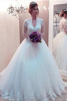 Queen Anne Reißverschluss Luxus Mittelgröße Spitzen-Overlay Brautkleid