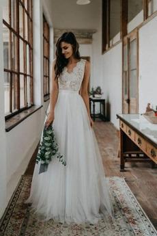 Brautkleid V-Ausschnitt Elegant Natürliche Taille Mittelgröße