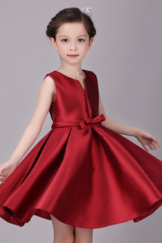 Natürliche Taille Juwel Glamouröse Reißverschluss Satin Blumenmädchenkleid
