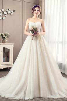 Rücken Schnürung Tüll Ärmellos Natürliche Taille Trägerlos Brautkleid