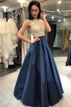 A-Linie Petite Typ Formell Natürliche Taille Juwel Abendkleid