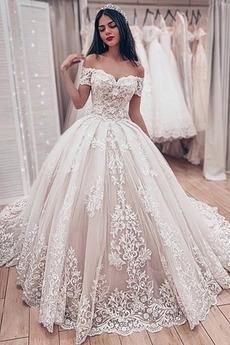 im Freien Schulterfrei Mittelgröße Spitzen-Overlay Vintage Brautkleid