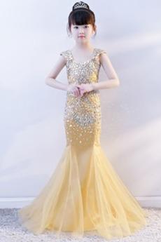 Tüll Kristall Ärmellos Meerjungfrau Reißverschluss Blumenmädchenkleid