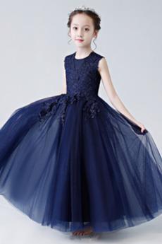 A-Linie Ärmellos Elegant Natürliche Taille Juwel Spitze Blumenmädchenkleid