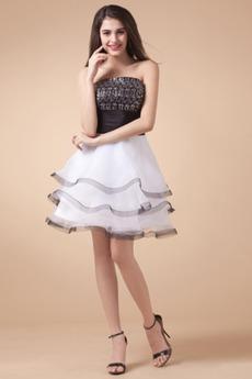 Ärmellos Weiß Prinzessin Kurz Petite Typ Reißverschluss Abendkleid
