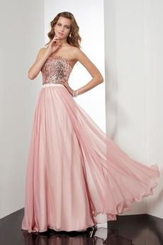 Pailletten A-Linie Elegant Ärmellos Reißverschluss Chiffon Abendkleid