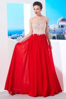 Bördeln Lange Elegant Mittelgröße Chiffon Rückenfrei Abendkleid